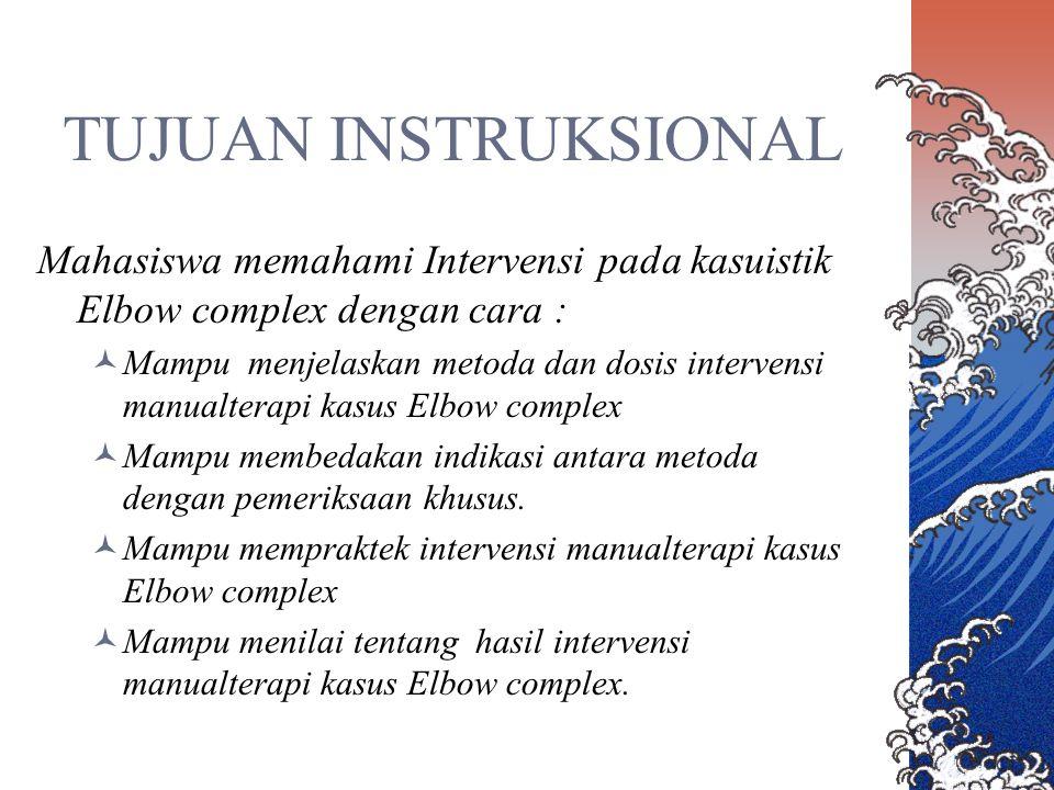 TUJUAN INSTRUKSIONAL Mahasiswa memahami Intervensi pada kasuistik Elbow complex dengan cara :