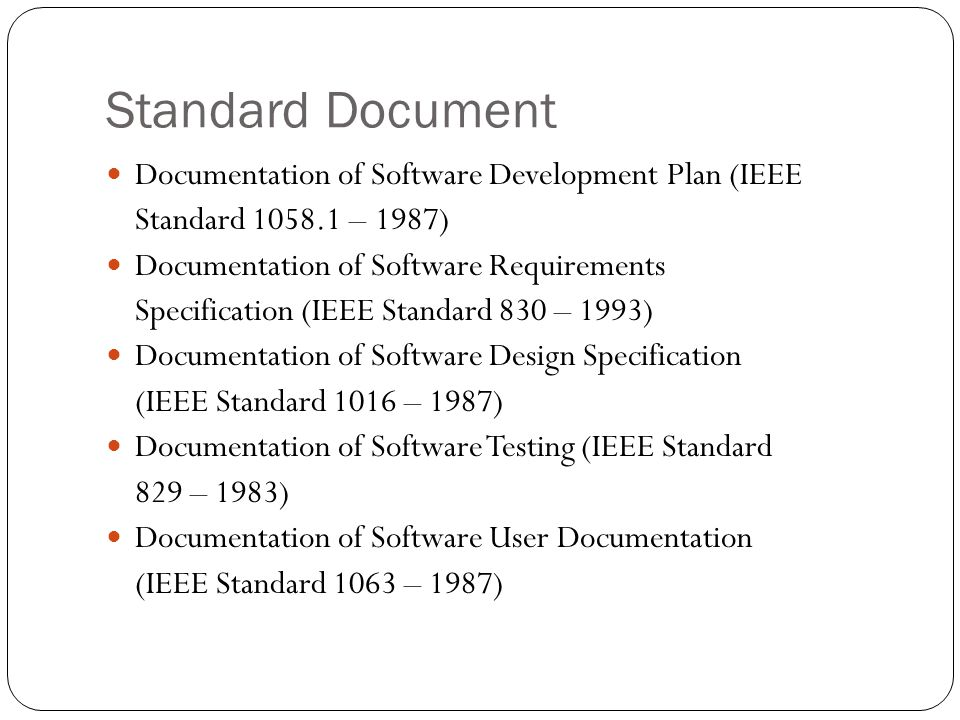 Standard Document Documentation of Software Development Plan (IEEE