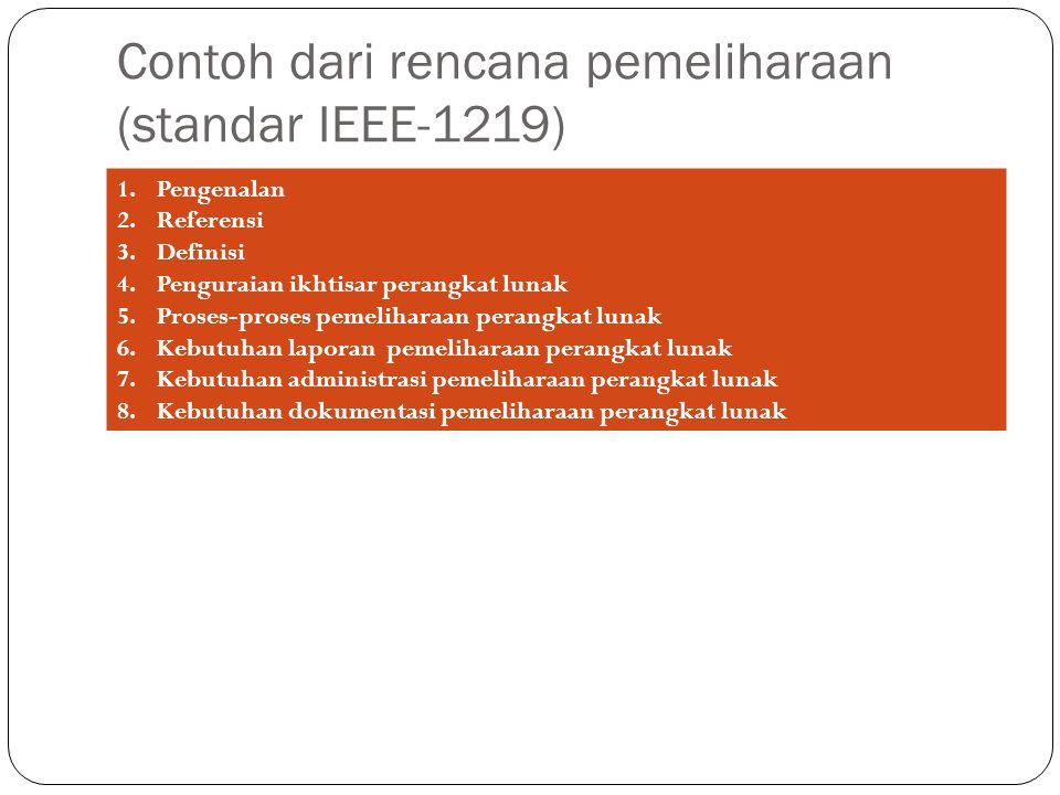 Contoh dari rencana pemeliharaan (standar IEEE-1219)