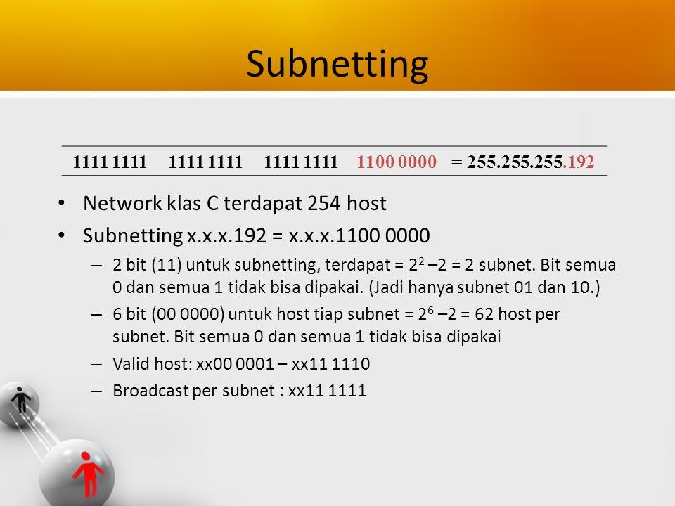 Subnetting Network klas C terdapat 254 host