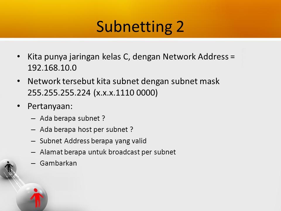Subnetting 2 Kita punya jaringan kelas C, dengan Network Address = 192.168.10.0.
