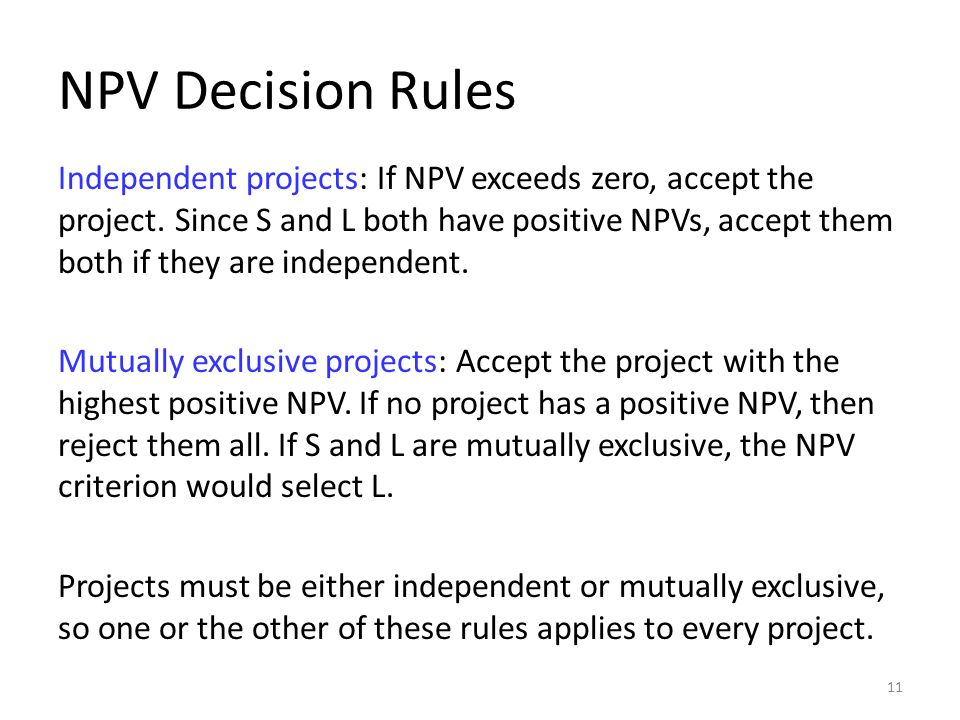NPV Decision Rules