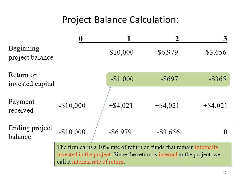Project Balance Calculation: