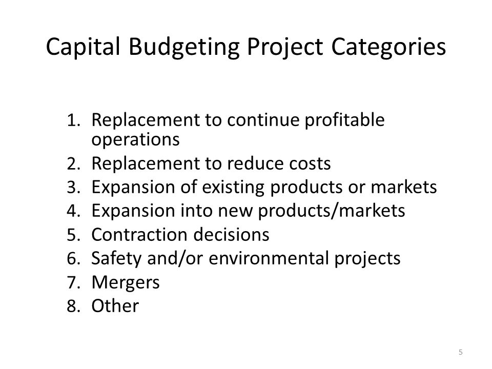 Capital Budgeting Project Categories