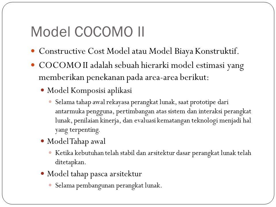 Model COCOMO II Constructive Cost Model atau Model Biaya Konstruktif.