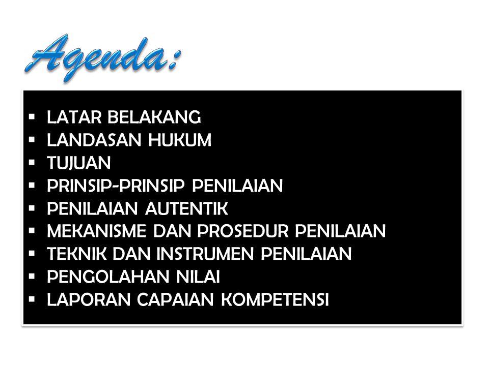 Agenda: LATAR BELAKANG LANDASAN HUKUM TUJUAN PRINSIP-PRINSIP PENILAIAN