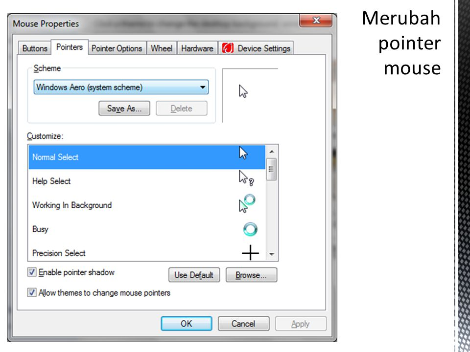 Merubah pointer mouse