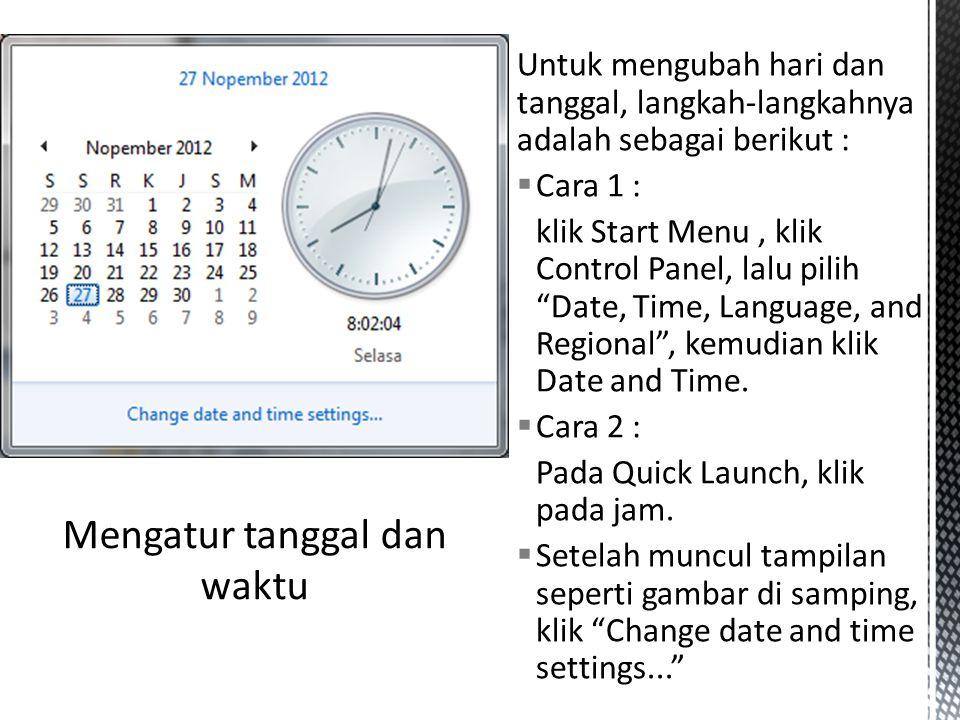 Mengatur tanggal dan waktu