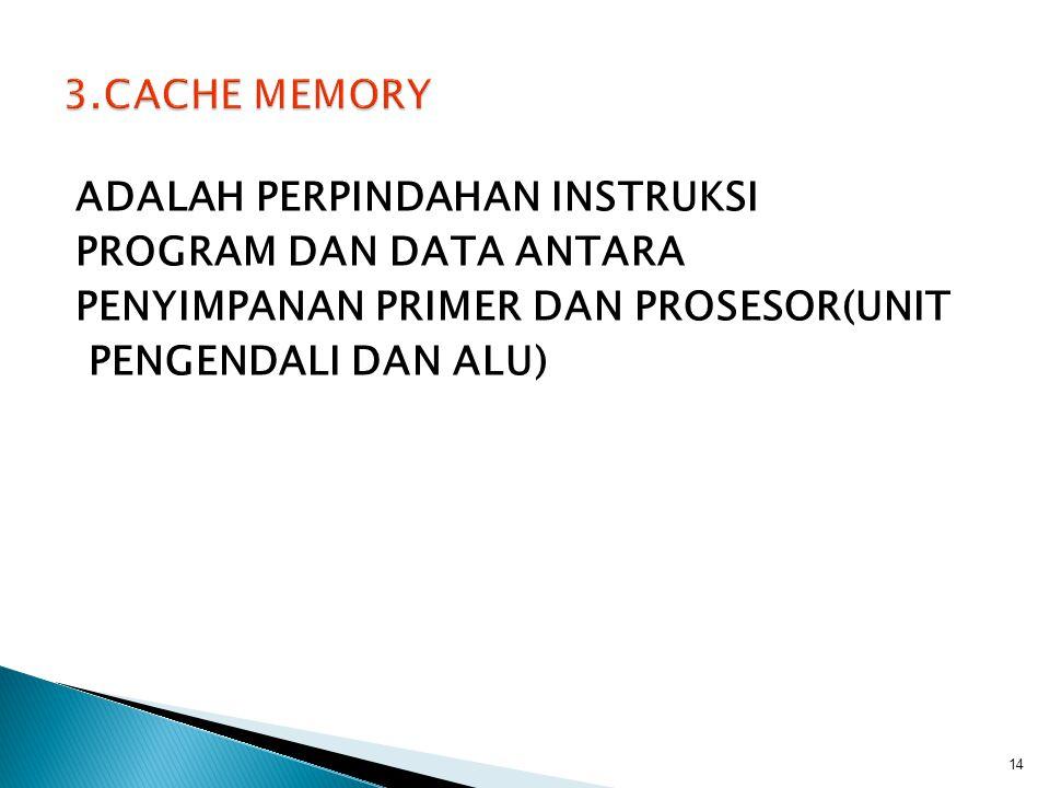 3.CACHE MEMORY ADALAH PERPINDAHAN INSTRUKSI PROGRAM DAN DATA ANTARA PENYIMPANAN PRIMER DAN PROSESOR(UNIT PENGENDALI DAN ALU)