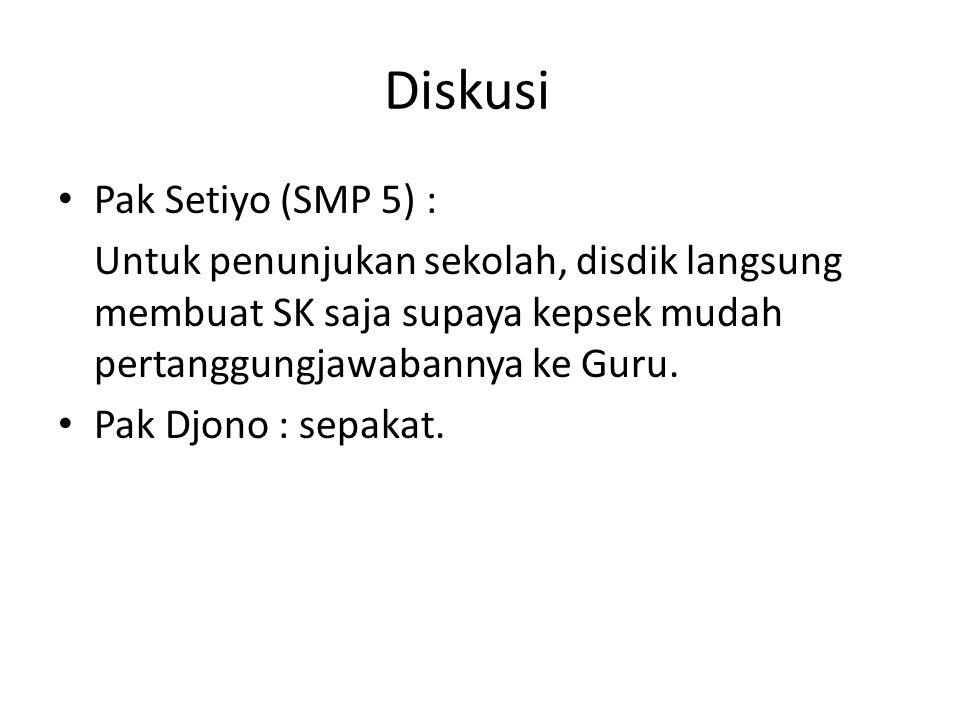 Diskusi Pak Setiyo (SMP 5) :
