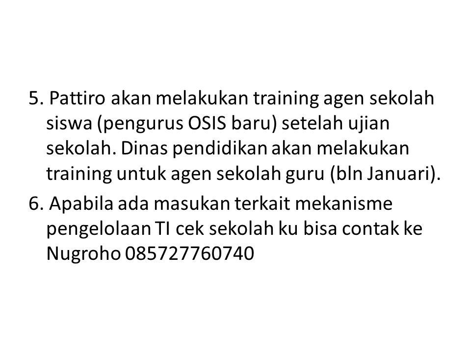 5. Pattiro akan melakukan training agen sekolah siswa (pengurus OSIS baru) setelah ujian sekolah.