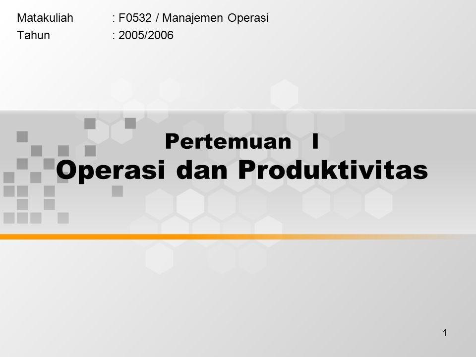 Pertemuan I Operasi dan Produktivitas
