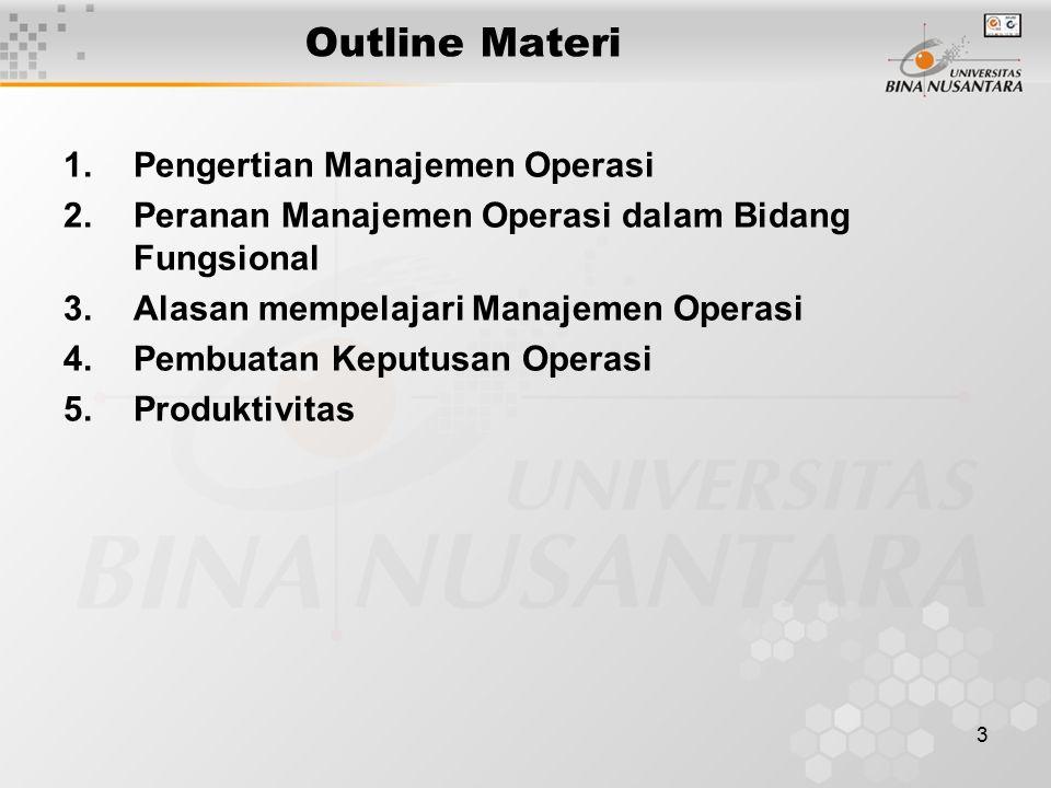 Outline Materi Pengertian Manajemen Operasi