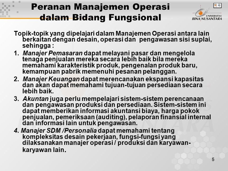 Peranan Manajemen Operasi dalam Bidang Fungsional