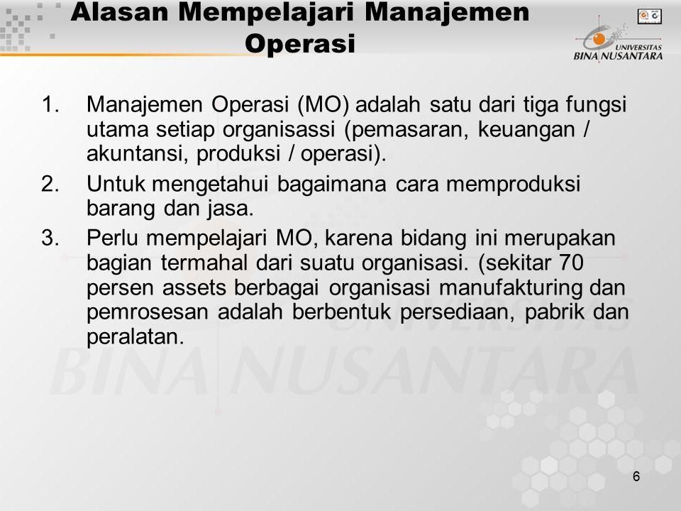 Alasan Mempelajari Manajemen Operasi