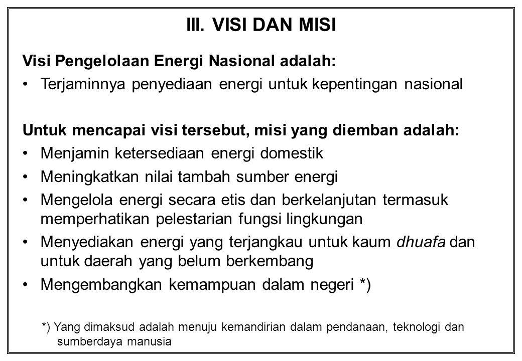 III. VISI DAN MISI Visi Pengelolaan Energi Nasional adalah: