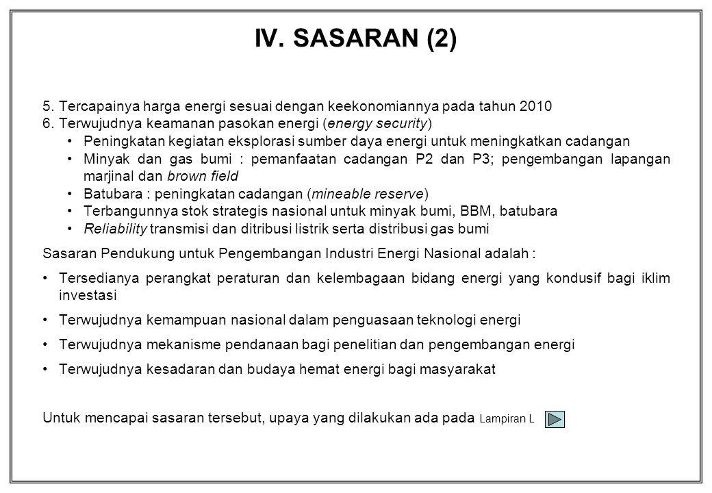IV. SASARAN (2) Tercapainya harga energi sesuai dengan keekonomiannya pada tahun 2010. Terwujudnya keamanan pasokan energi (energy security)