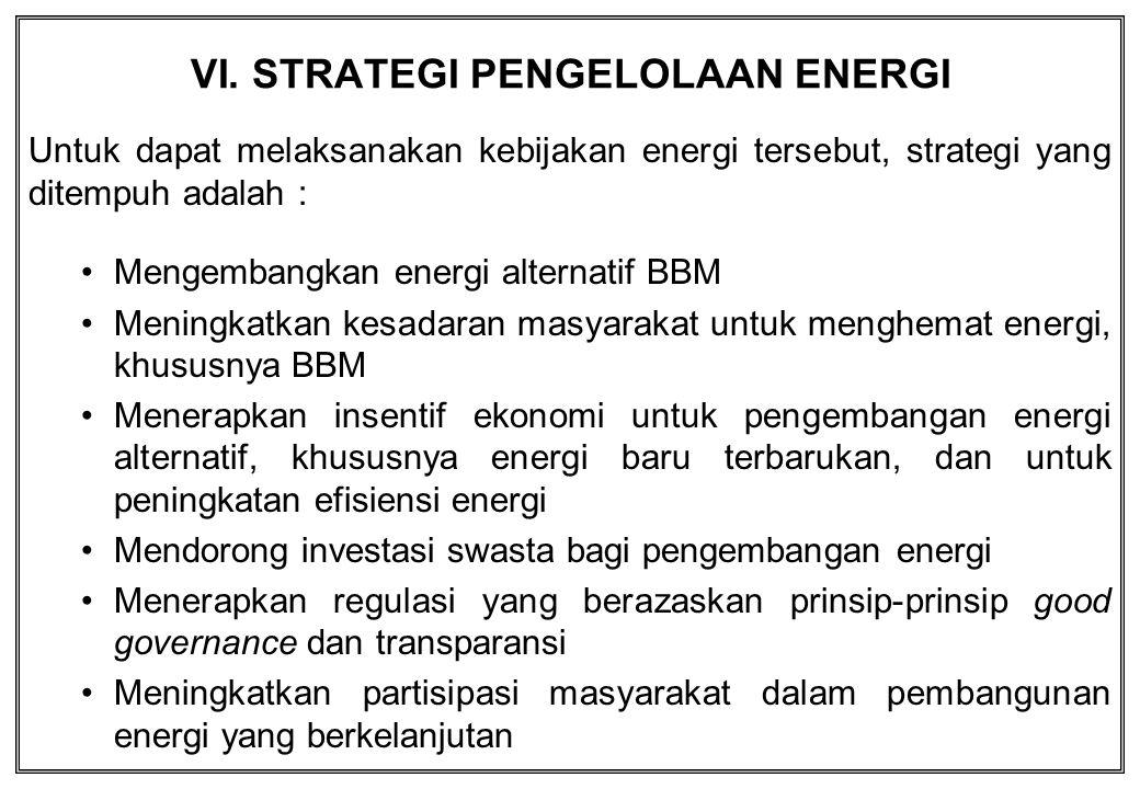VI. STRATEGI PENGELOLAAN ENERGI