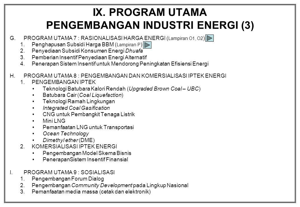 IX. PROGRAM UTAMA PENGEMBANGAN INDUSTRI ENERGI (3)