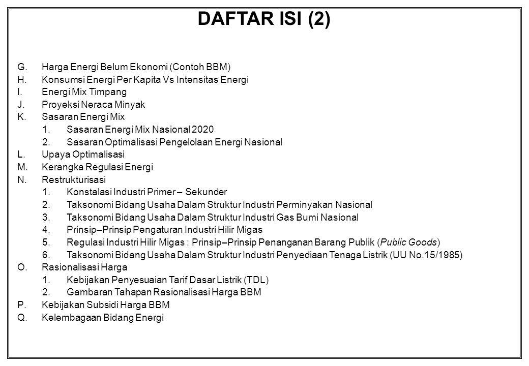 DAFTAR ISI (2) Harga Energi Belum Ekonomi (Contoh BBM)