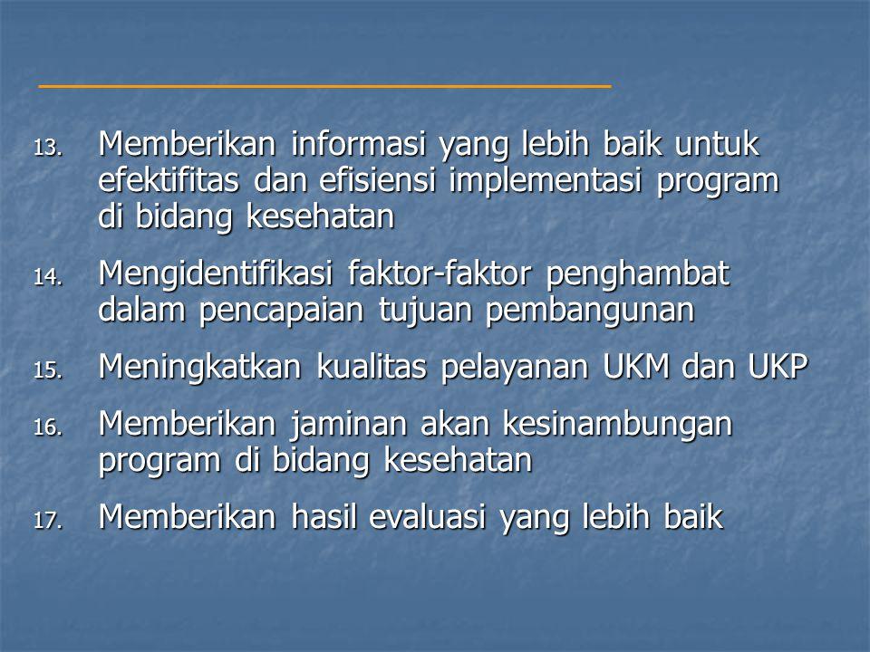 Memberikan informasi yang lebih baik untuk efektifitas dan efisiensi implementasi program di bidang kesehatan