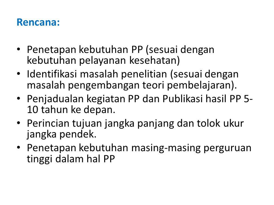 Rencana: Penetapan kebutuhan PP (sesuai dengan kebutuhan pelayanan kesehatan)