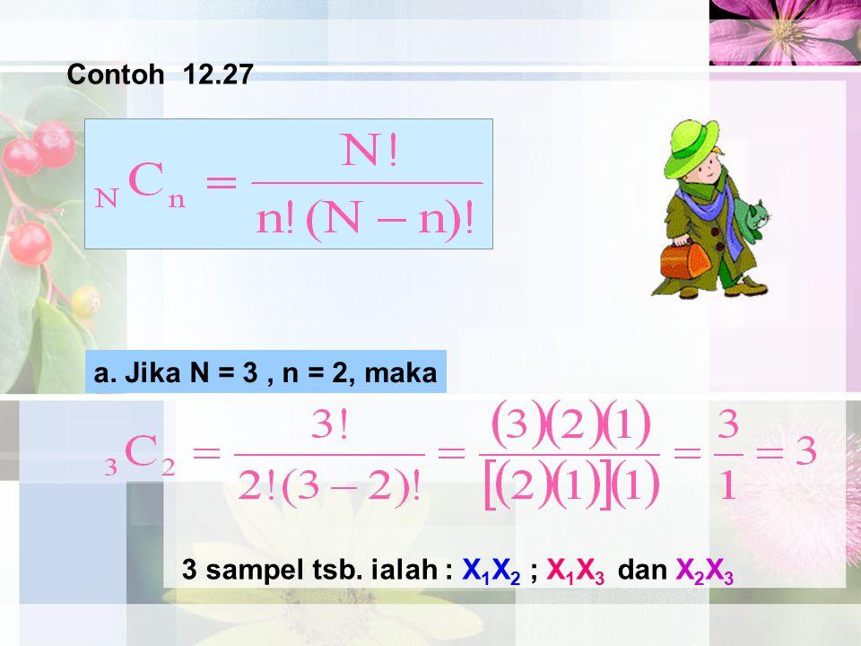 Contoh 12.27 a. Jika N = 3 , n = 2, maka 3 sampel tsb. ialah : X1X2 ; X1X3 dan X2X3