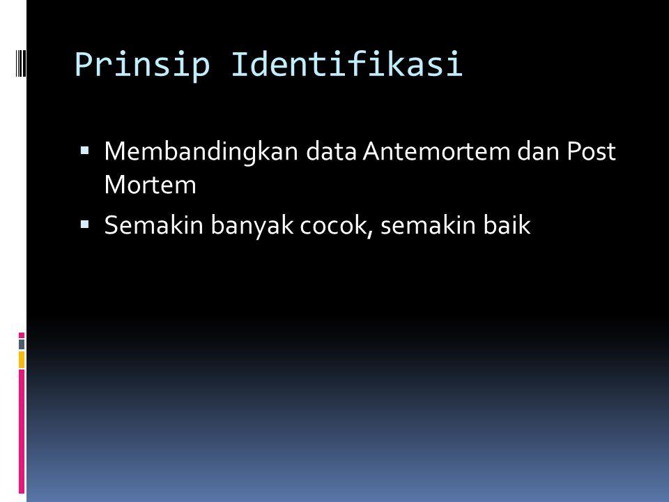 Prinsip Identifikasi Membandingkan data Antemortem dan Post Mortem