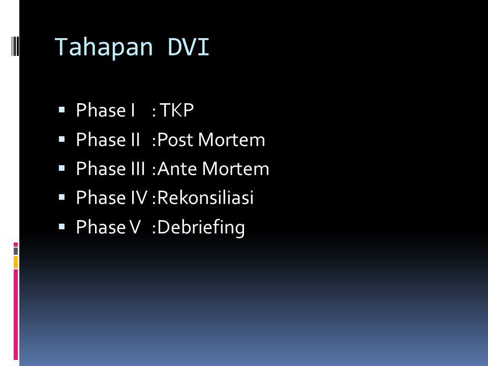 Tahapan DVI Phase I : TKP Phase II :Post Mortem Phase III :Ante Mortem