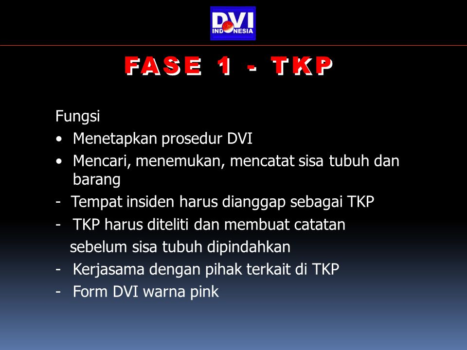 FASE 1 - TKP Fungsi Menetapkan prosedur DVI