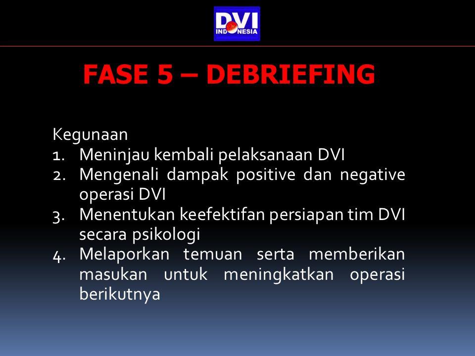 FASE 5 – DEBRIEFING Kegunaan Meninjau kembali pelaksanaan DVI