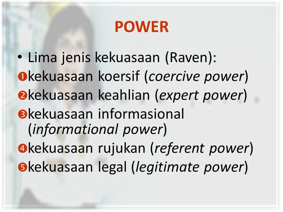 POWER Lima jenis kekuasaan (Raven): kekuasaan koersif (coercive power)