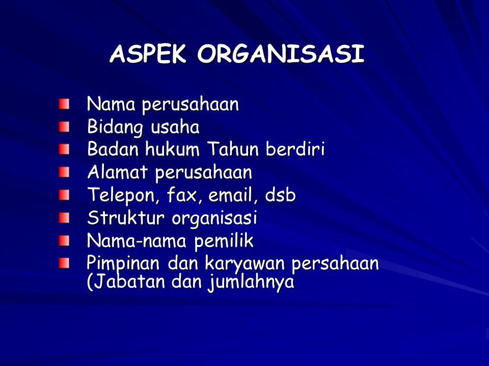 ASPEK ORGANISASI Nama perusahaan Bidang usaha