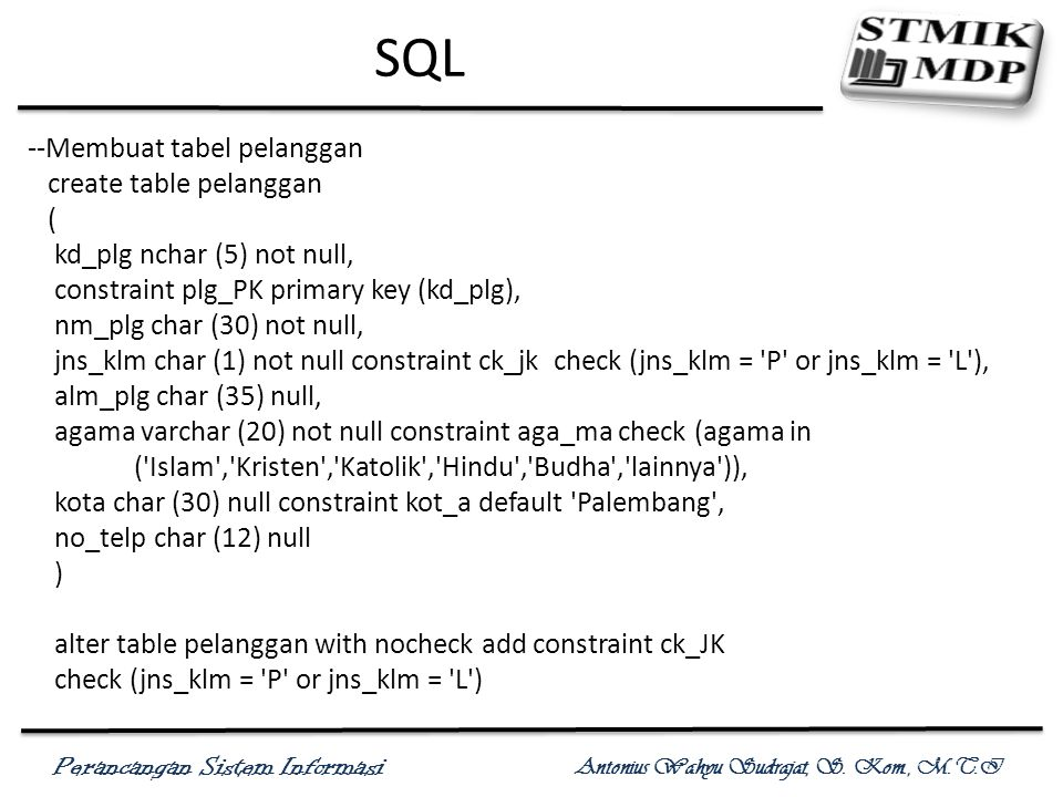 SQL --Membuat tabel pelanggan create table pelanggan (