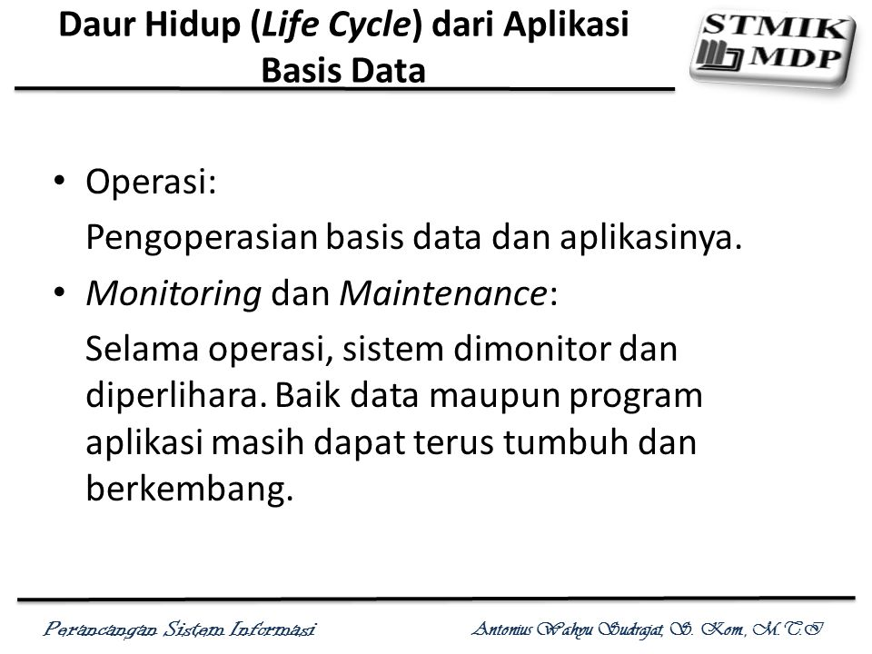 Daur Hidup (Life Cycle) dari Aplikasi Basis Data