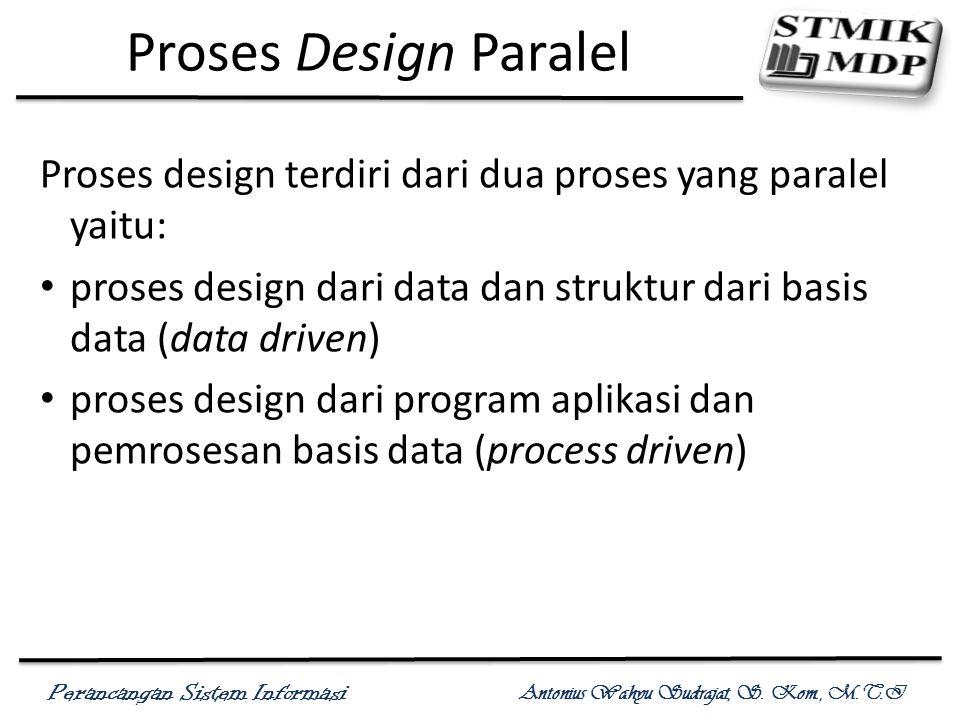 Proses Design Paralel Proses design terdiri dari dua proses yang paralel yaitu: proses design dari data dan struktur dari basis data (data driven)
