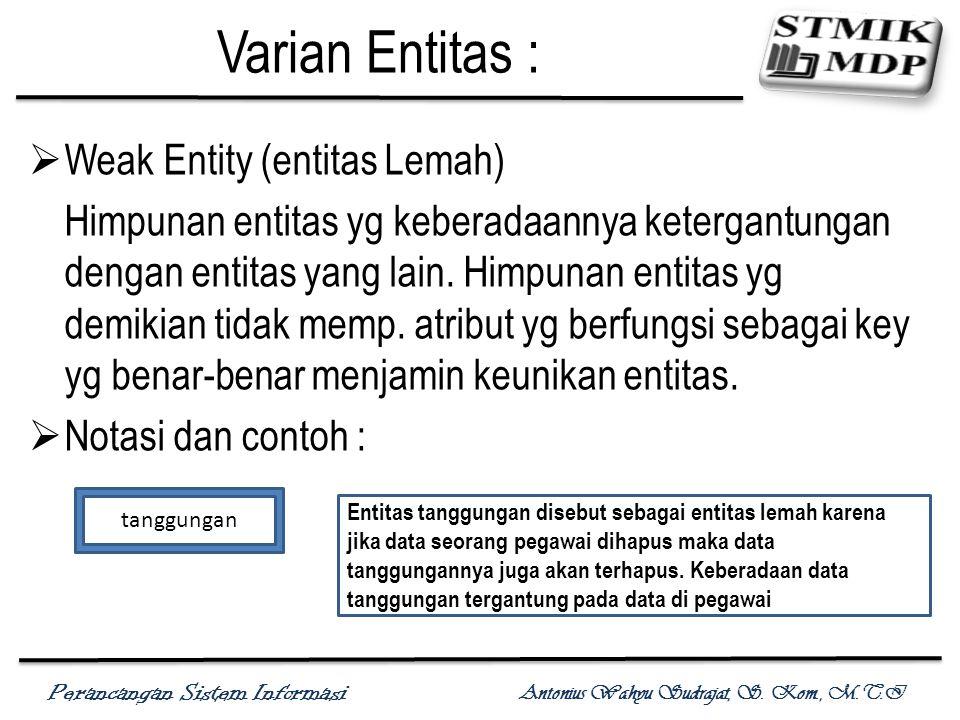 Varian Entitas : Weak Entity (entitas Lemah)