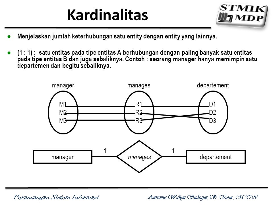 Kardinalitas Menjelaskan jumlah keterhubungan satu entity dengan entity yang lainnya.