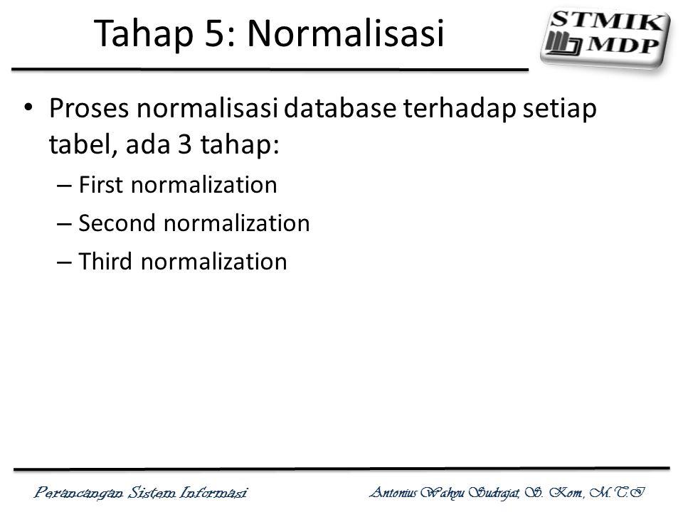 Tahap 5: Normalisasi Proses normalisasi database terhadap setiap tabel, ada 3 tahap: First normalization.