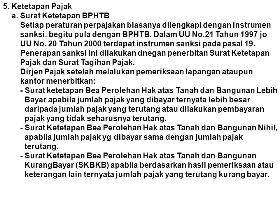 5. Ketetapan Pajak a. Surat Ketetapan BPHTB. Setiap peraturan perpajakan biasanya dilengkapi dengan instrumen.