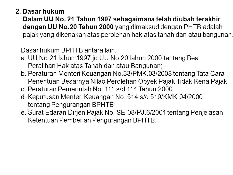2. Dasar hukum Dalam UU No. 21 Tahun 1997 sebagaimana telah diubah terakhir. dengan UU No.20 Tahun 2000 yang dimaksud dengan PHTB adalah.
