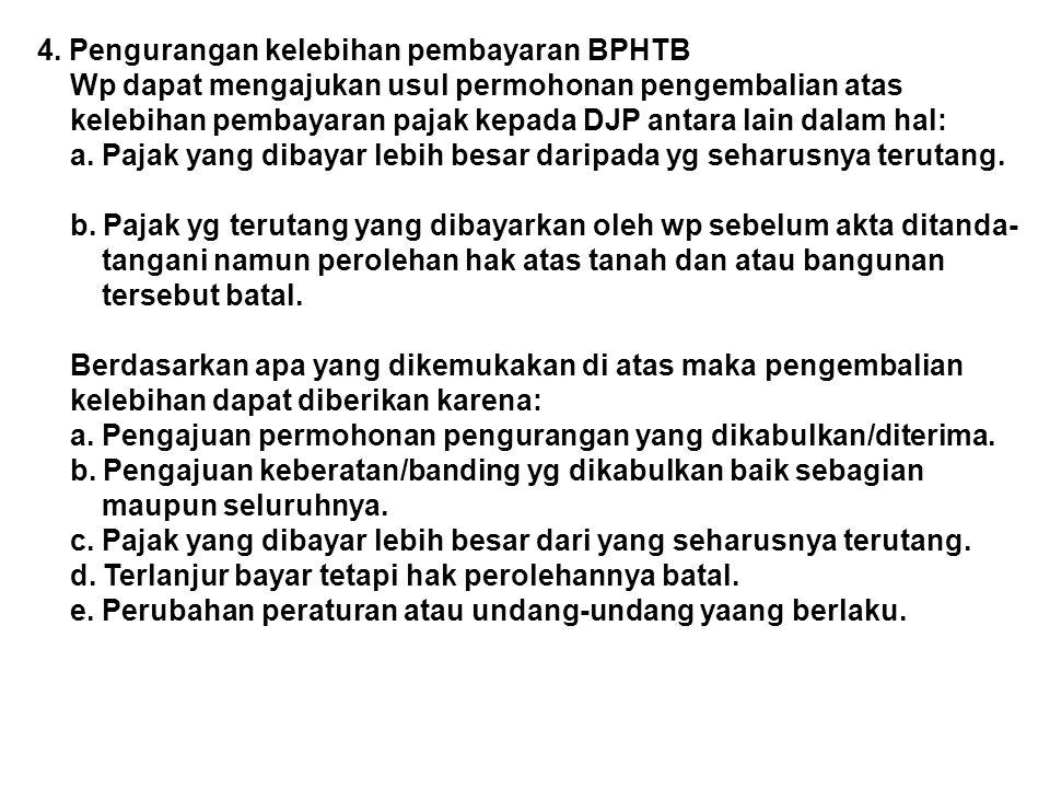 4. Pengurangan kelebihan pembayaran BPHTB
