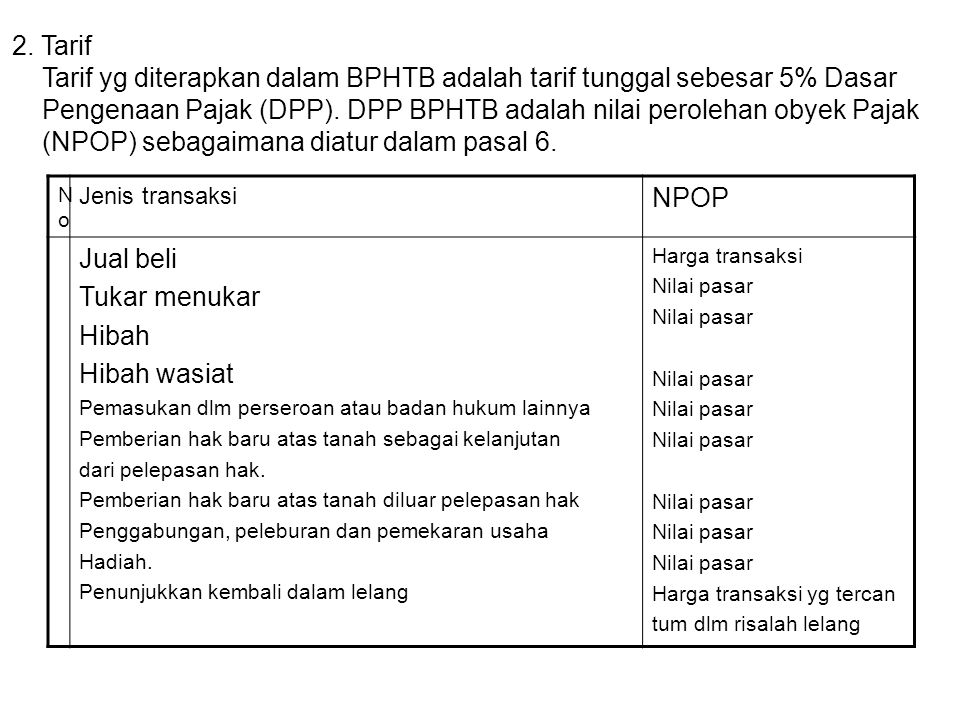 Tarif yg diterapkan dalam BPHTB adalah tarif tunggal sebesar 5% Dasar