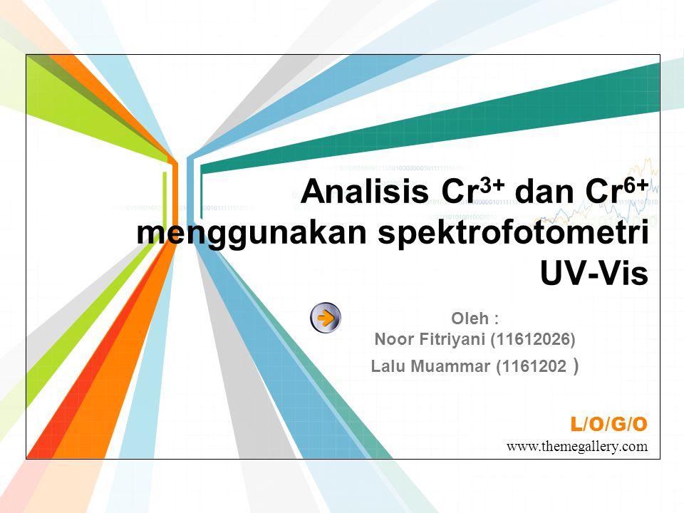 Analisis Cr3+ dan Cr6+ menggunakan spektrofotometri UV-Vis