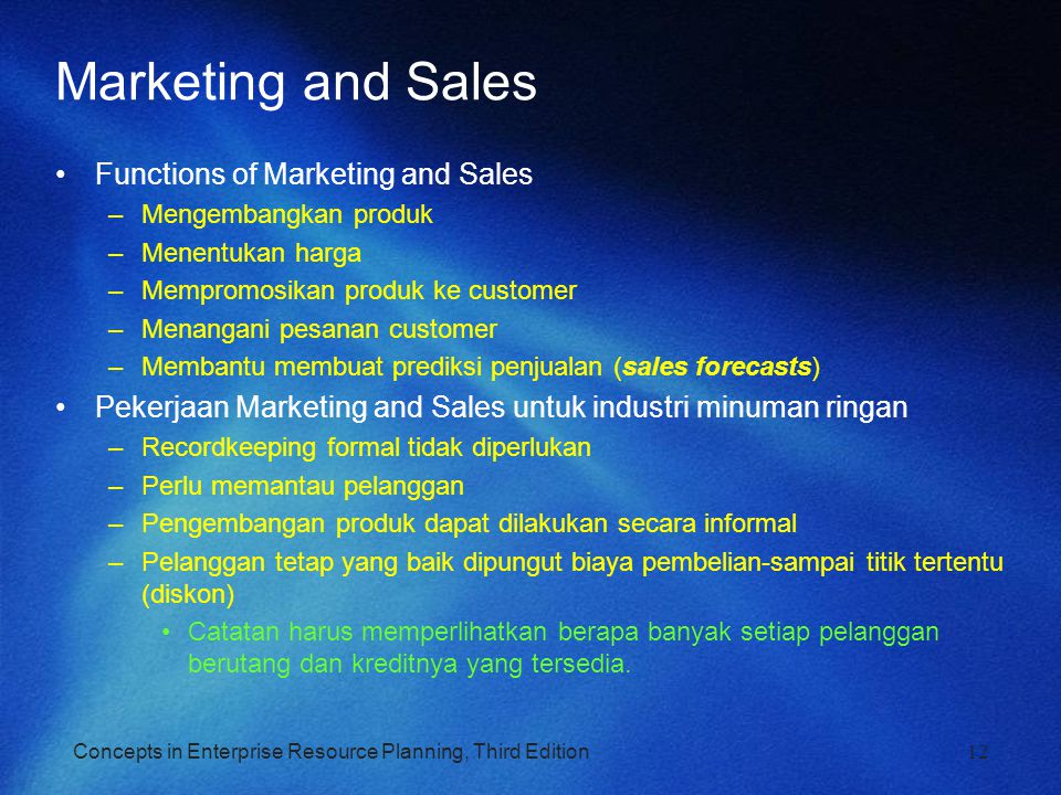 Marketing and Sales Functions of Marketing and Sales
