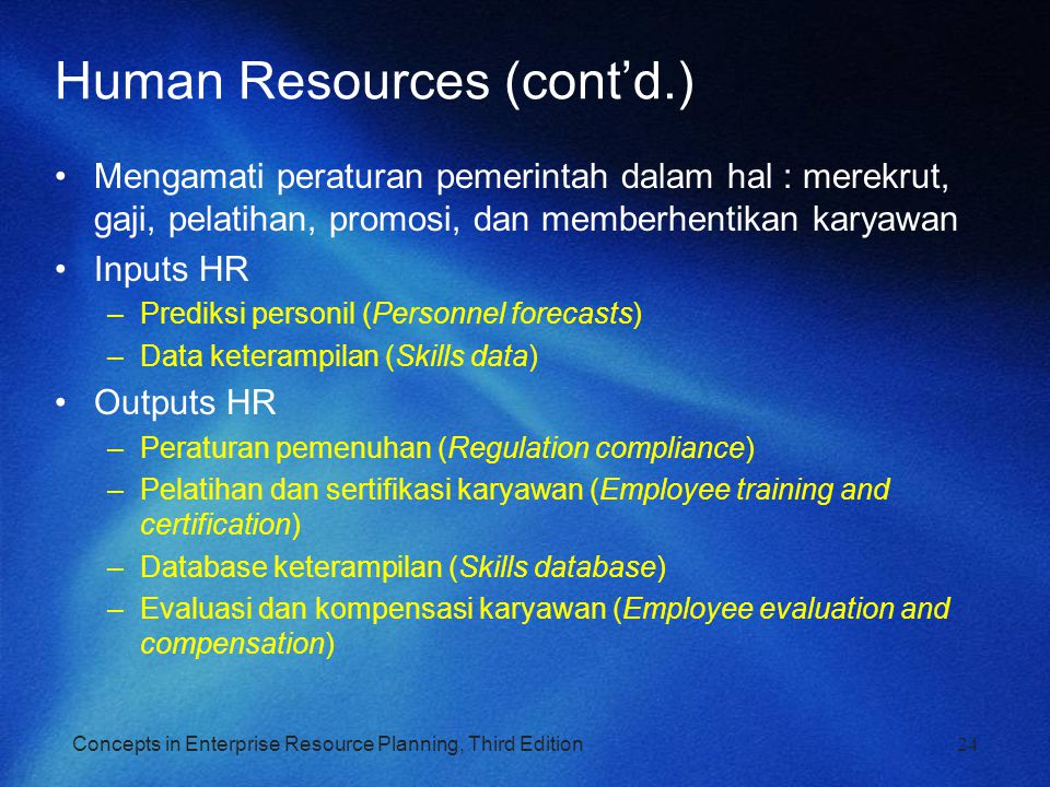 Human Resources (cont'd.)