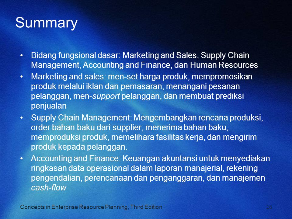 Summary Bidang fungsional dasar: Marketing and Sales, Supply Chain Management, Accounting and Finance, dan Human Resources.