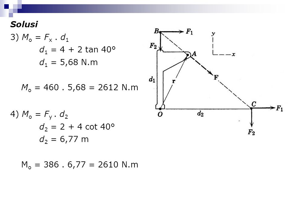 Solusi 3) Mo = Fx . d1. d1 = 4 + 2 tan 40° d1 = 5,68 N.m. Mo = 460 . 5,68 = 2612 N.m. 4) Mo = Fy . d2.