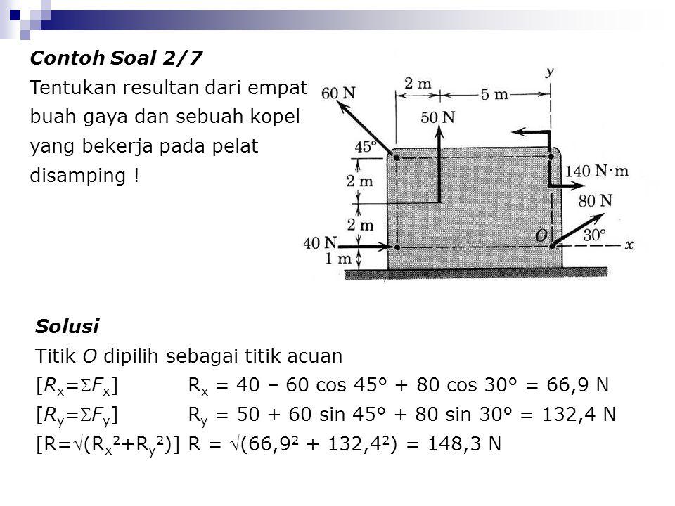 Contoh Soal 2/7 Tentukan resultan dari empat buah gaya dan sebuah kopel yang bekerja pada pelat disamping !