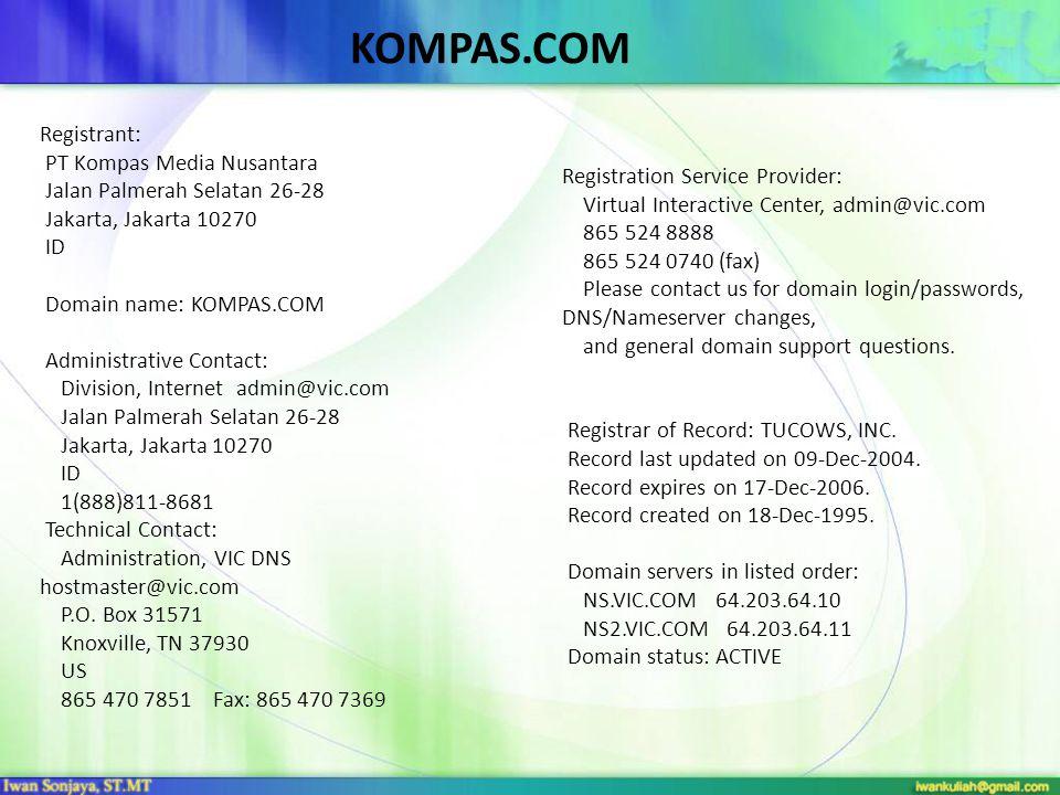 KOMPAS.COM Registrant: PT Kompas Media Nusantara